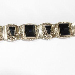 Mexican Obsidian Mask Panel Bracelet Alpaca Silver